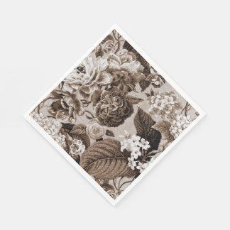Sepia Brown Vintage Floral Toile Fabric No.1 Disposable Napkin