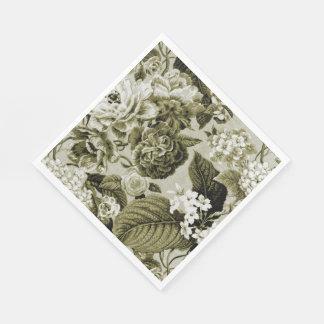 Sepia Brown Vintage Floral Toile Fabric No.1 Disposable Serviette