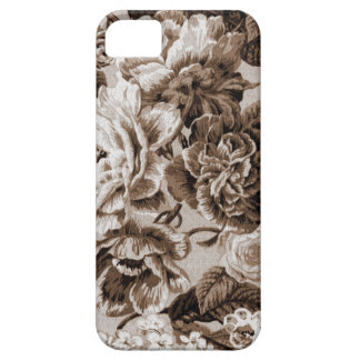 Sepia Brown Vintage Floral Toile Fabric No.1 iPhone 5 Covers