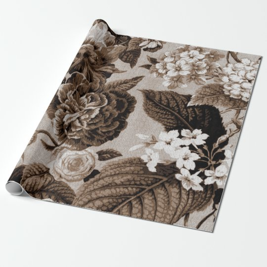 Sepia Brown Vintage Floral Toile Fabric No.1 Wrapping