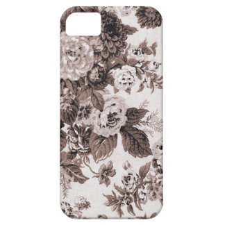 Sepia Brown Vintage Floral Toile Fabric No.3 Barely There iPhone 5 Case