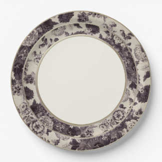 Sepia Brown Vintage Floral Toile Fine China Paper Plate