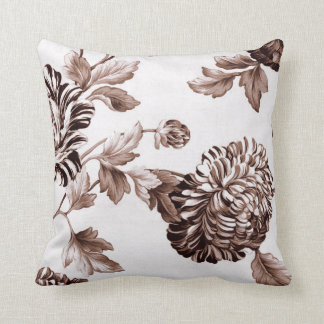 Sepia Brown Vintage Floral Toile No.2 Cushion