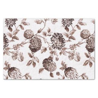 Sepia Brown Vintage Floral Toile No.2 Tissue Paper