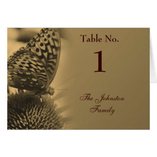 Sepia Butterfly Nature Wedding Table Place Card