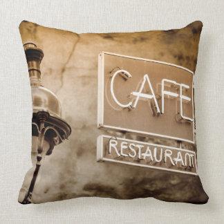 Sepia cafe sign, Paris, France Cushion