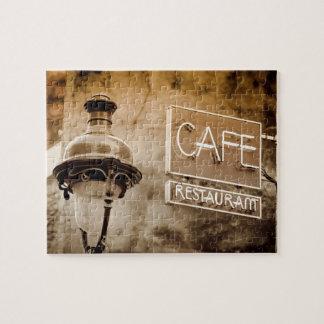Sepia cafe sign, Paris, France Jigsaw Puzzle