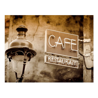 Sepia cafe sign, Paris, France Postcard