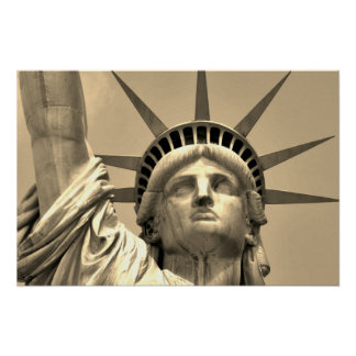 Sepia Close-up Statue of Liberty New York Poster