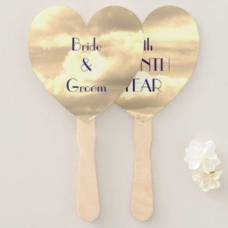 Sepia Cloud Wedding Hand Fan