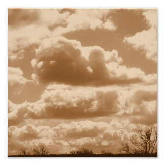 Sepia Clouds Poster