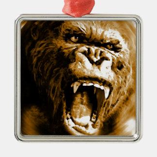 Sepia Color Gorilla Screams Christmas Ornament