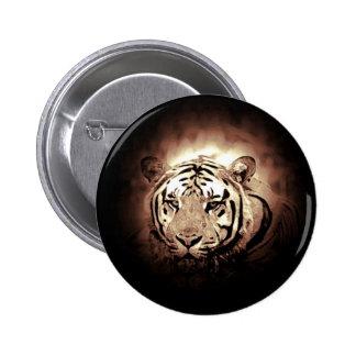 Sepia Color Tiger Wild Big Cat 6 Cm Round Badge