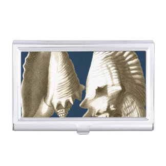 Sepia Conch Seashells Business Card Holder