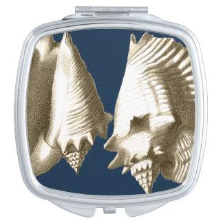 Sepia Conch Seashells Compact Mirrors