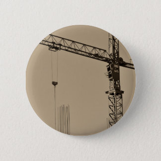 Sepia Construction Crane 6 Cm Round Badge