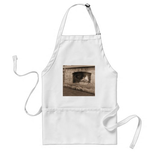 Sepia Country Fireplace Photo Adult Apron