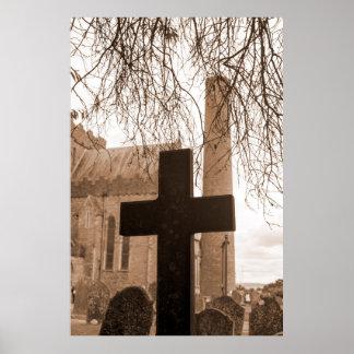 sepia cross at ancient graveyard poster
