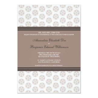 Sepia Decorative Stamp Formal Wedding Invitation
