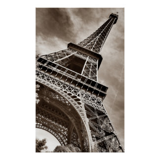Sepia Eiffel Tower From Below Poster