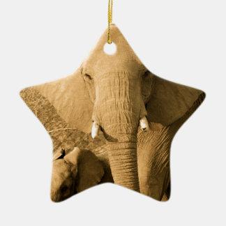 Sepia Elephant Christmas Ornament