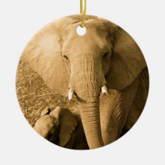 Sepia Elephant Round Ceramic Decoration