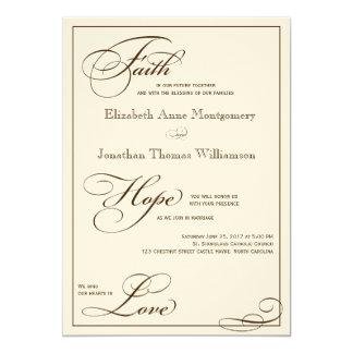 "Sepia Faith Hope Love Script Wedding Invitation 5"" X 7"" Invitation Card"