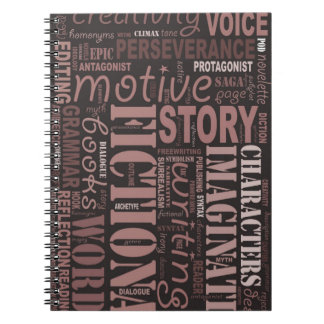 Sepia Fiction Writer's Word Art Notebook