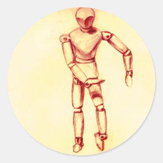 Sepia Figures Round Sticker