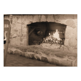Sepia Fireplace Photo Business Cards