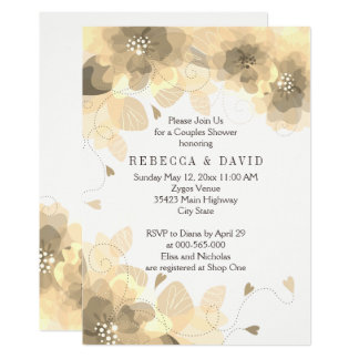 Sepia flowers floral fall wedding couples shower card
