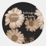 Sepia flowers, hidden bear stickers