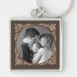 Sepia Frame Silver-Colored Square Key Ring