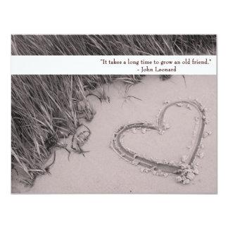 Sepia Friendship Heart Flat Card 11 Cm X 14 Cm Invitation Card