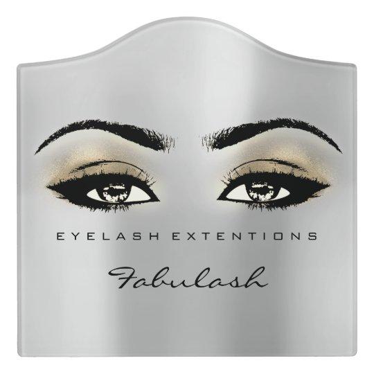 Sepia Gold Glitter Grey Beauty Lashes Makeup Door Sign