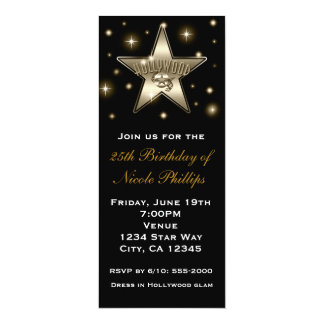 Sepia Gold Hollywood Star Retro Vintage Invitation