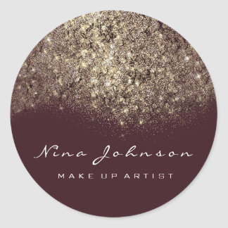 Sepia Gold Maroon White Makeup Artist Beauty Classic Round Sticker