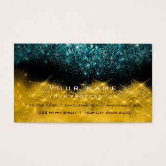 Sepia Gold Sparkly Glitter Teal Black White Business Card