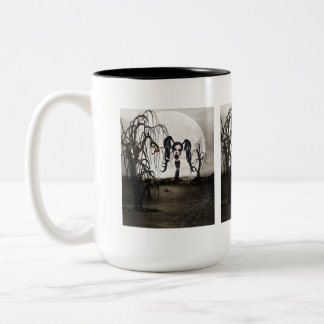 Sepia Goth Girl Two-Tone Coffee Mug