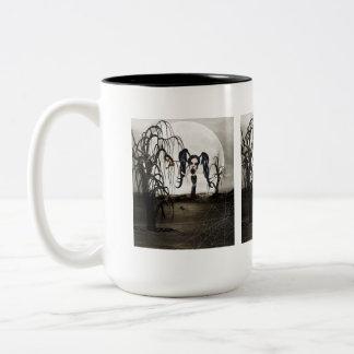 Sepia Goth Girl Two-Tone Coffee Mug