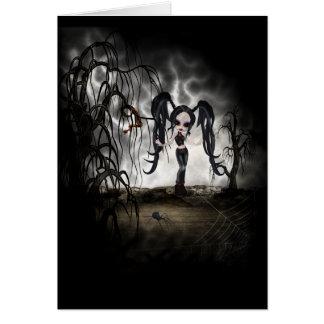 Sepia Goth Girl Vignette Card