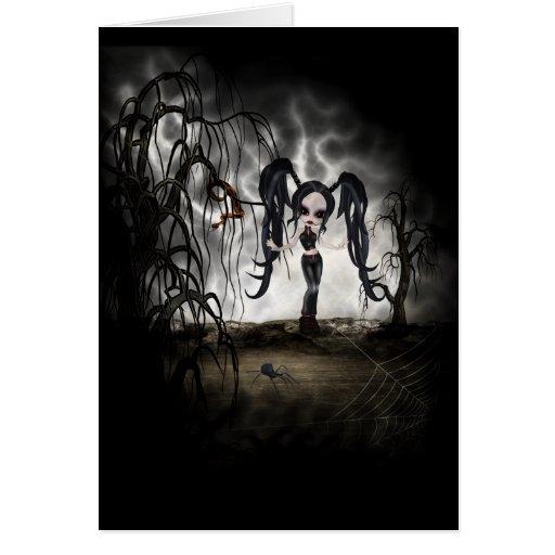 Sepia Goth Girl Vignette Greeting Cards