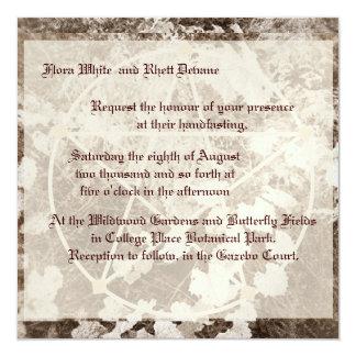 Sepia Grapevine Wedding/Handfasting Pentacle Suite 13 Cm X 13 Cm Square Invitation Card