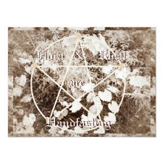 Sepia Grapevine Wedding/Handfasting Pentacle Trad. 17 Cm X 22 Cm Invitation Card
