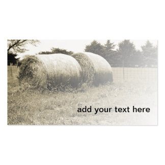sepia image of two large round hay bales pack of standard business cards
