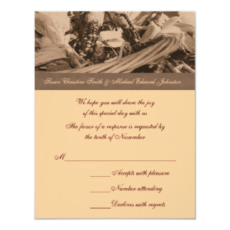 Sepia Indian Corn Basket Wedding Response RSVP 11 Cm X 14 Cm Invitation Card