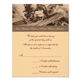 Sepia Indian Corn Basket Wedding Response RSVP Card
