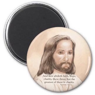 Sepia Jesus Art Bible Quote - 1 Corinthians 13 13 Fridge Magnet