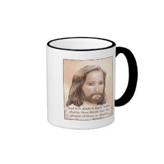 Sepia Jesus Art Bible Quote - 1 Corinthians 13:13 Coffee Mug