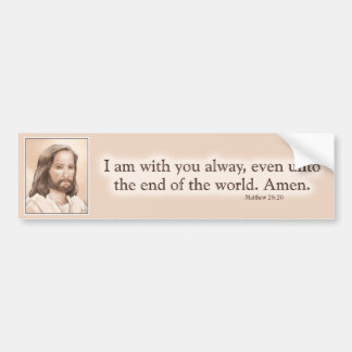Sepia Jesus Art Bible Quote - Matthew 28:20 Bumper Sticker